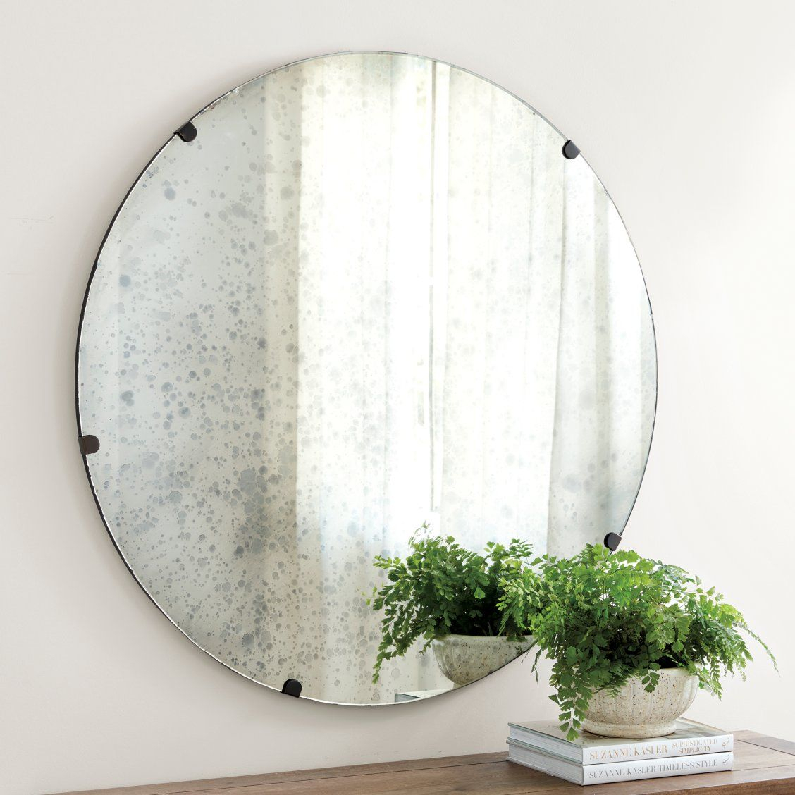 Theron Mirror In 2019 | Entryway Inspiration | Round Mirrors Throughout Celeste Frameless Round Wall Mirrors (View 8 of 20)