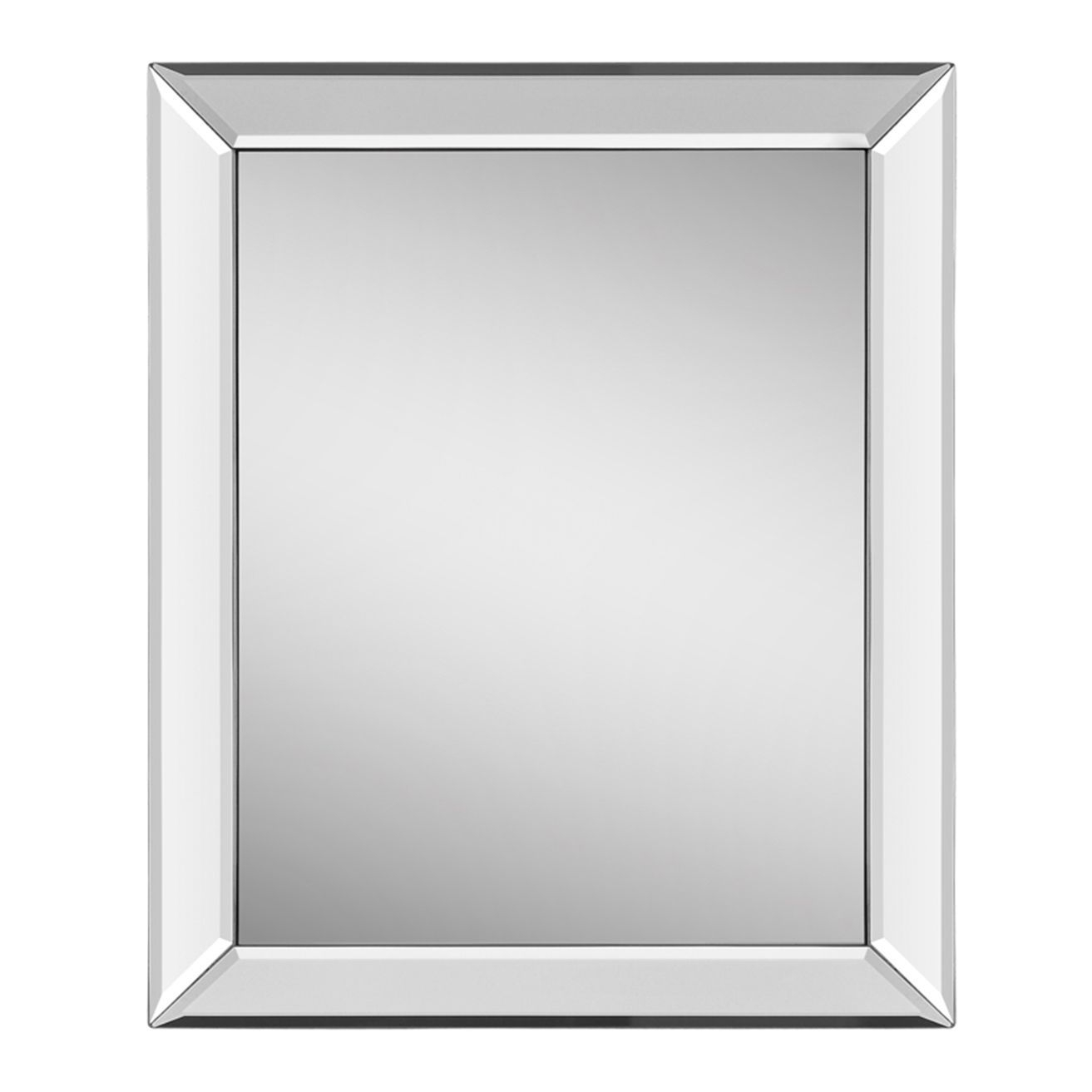 This Simple And Elegant Mirror Features A Polished Mirror In Tetbury Frameless Tri Bevel Wall Mirrors (Image 14 of 20)