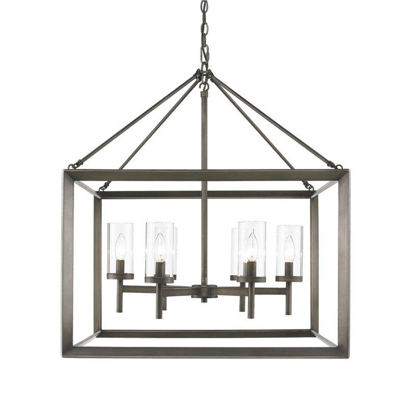 Thorne 6 Light Lantern Square / Rectangle Pendant Pertaining To William 4 Light Lantern Square / Rectangle Pendants (Image 16 of 25)