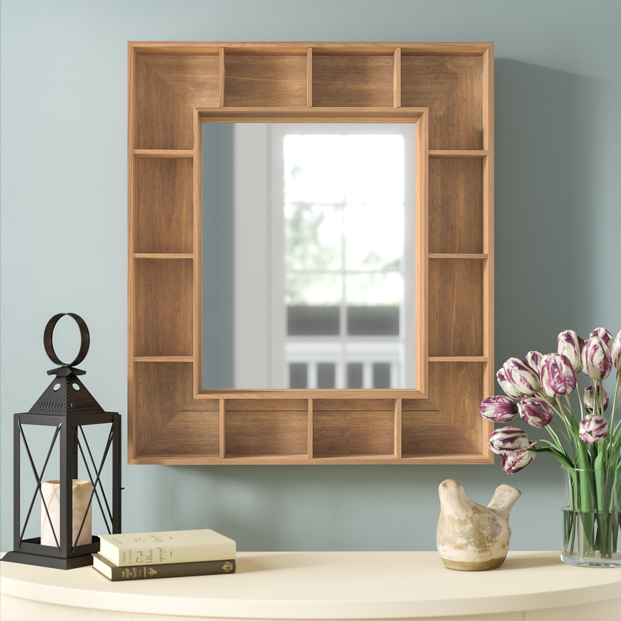 Three Posts Swanage Rustic Wood Cubby Framed Wall Storage Accent Mirror With Regard To Hallas Wall Organizer Mirrors (Image 19 of 20)