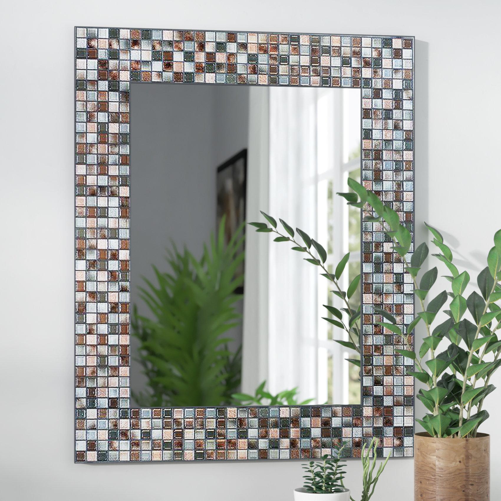 Tillman Mosaic Tile Accent Wall Mirror For Hussain Tile Accent Wall Mirrors (Image 17 of 20)