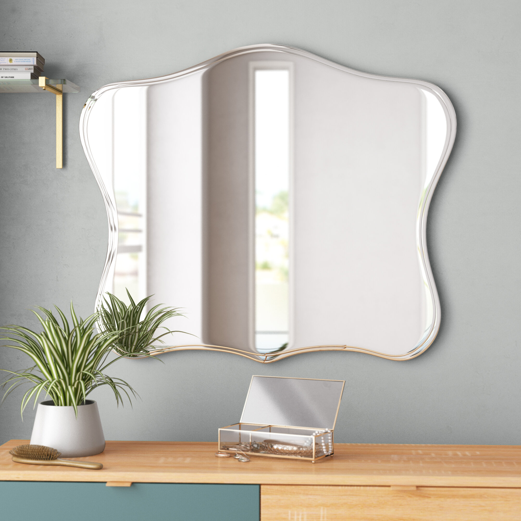Titsworth Frameless Fancy Wall Mirror Intended For Logan Frameless Wall Mirrors (View 15 of 20)