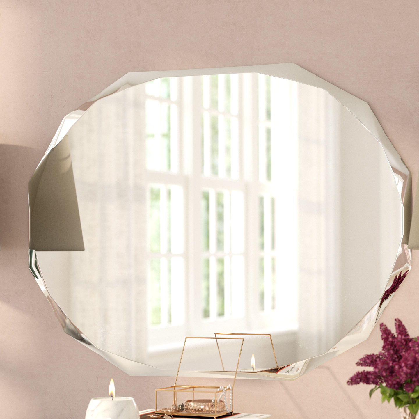 Featured Image of Traditional Frameless Diamond Wall Mirrors