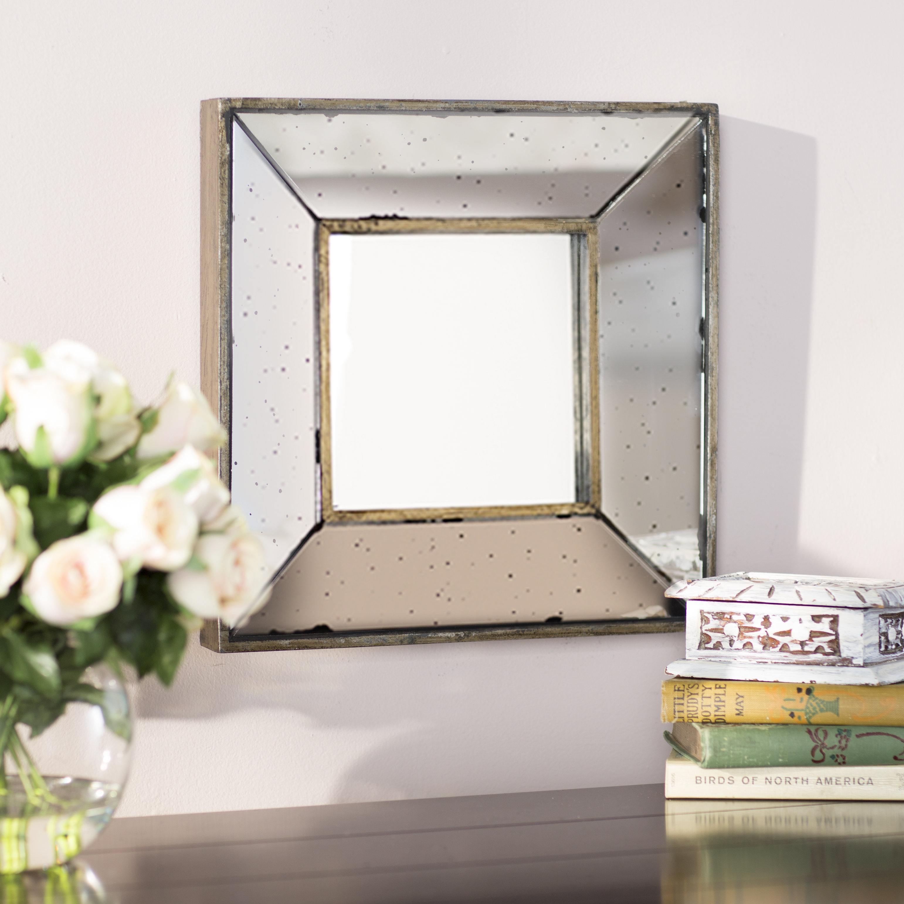 Traditional Square Glass Wall Mirror Within 2 Piece Priscilla Square Traditional Beveled Distressed Accent Mirror Sets (View 10 of 20)