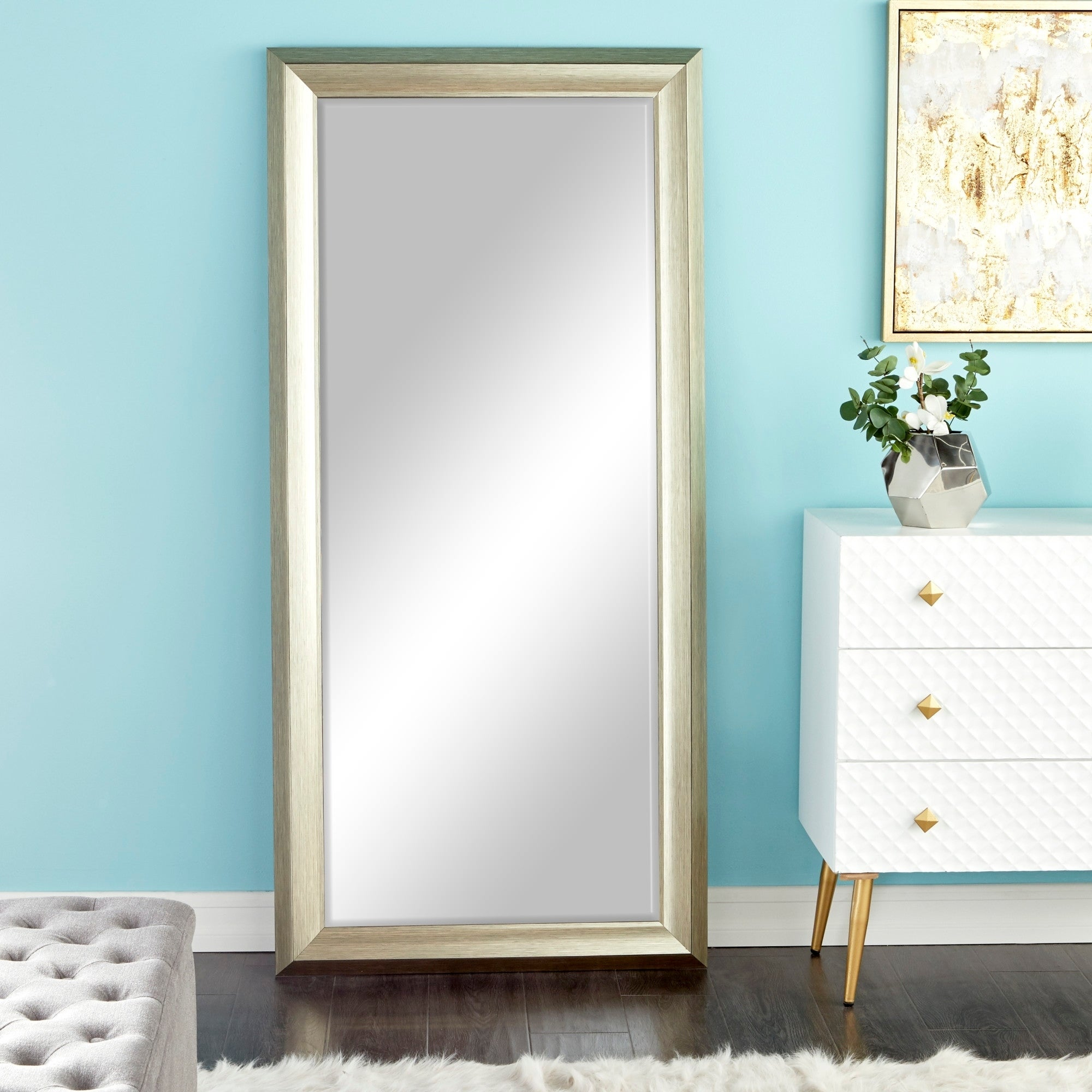 "Traditional Style Rectangular Beveled Wall Mirror 30"" X 65"" – White Inside Traditional Beveled Wall Mirrors (View 20 of 20)"
