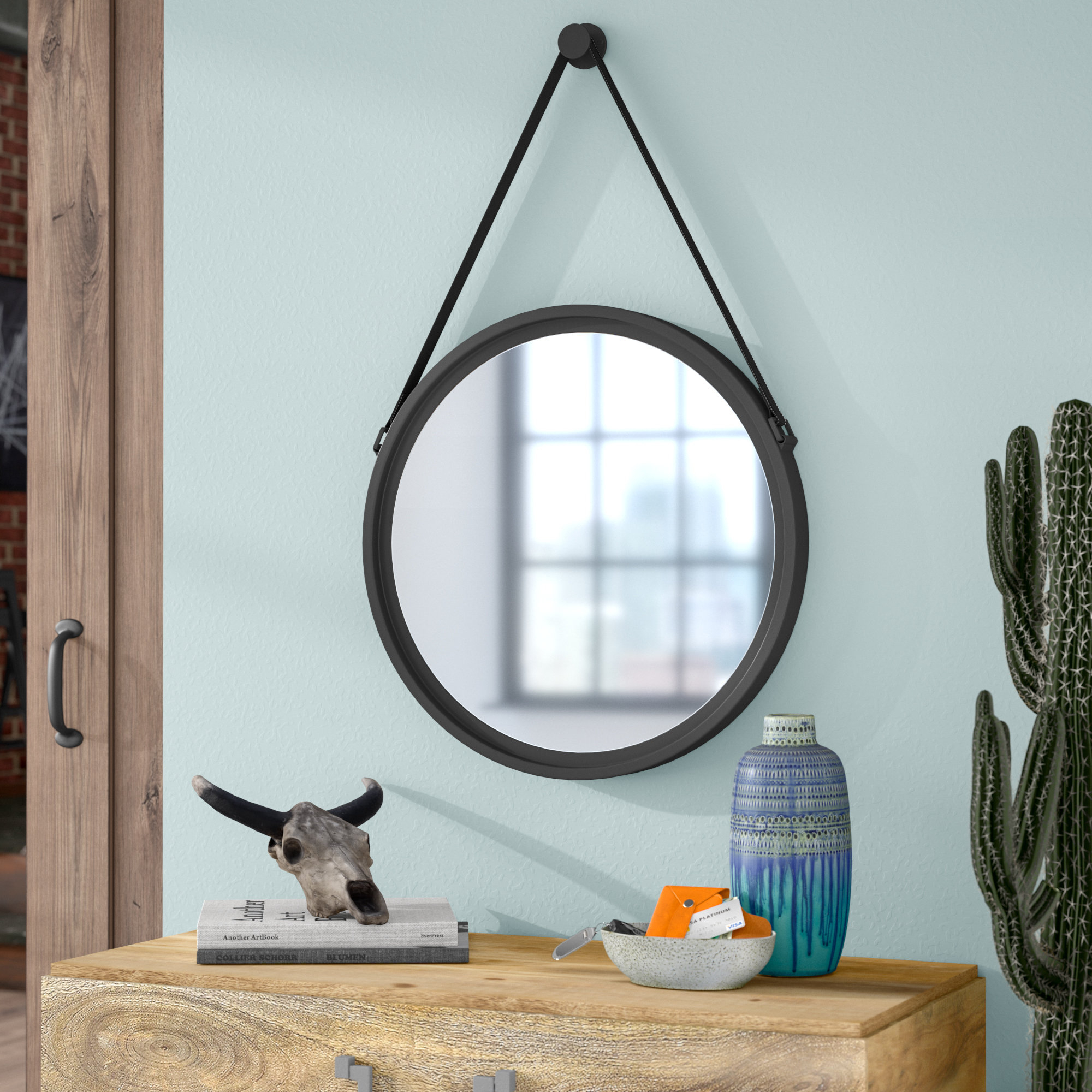 Trent Austin Design Round Metal Wall Mirror & Reviews | Wayfair With Regard To Round Galvanized Metallic Wall Mirrors (View 13 of 20)