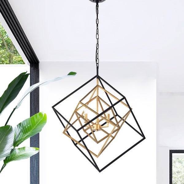Triplix 3 Light Geometric Gold And Black Chandelier For Donna 4 Light Globe Chandeliers (View 13 of 20)
