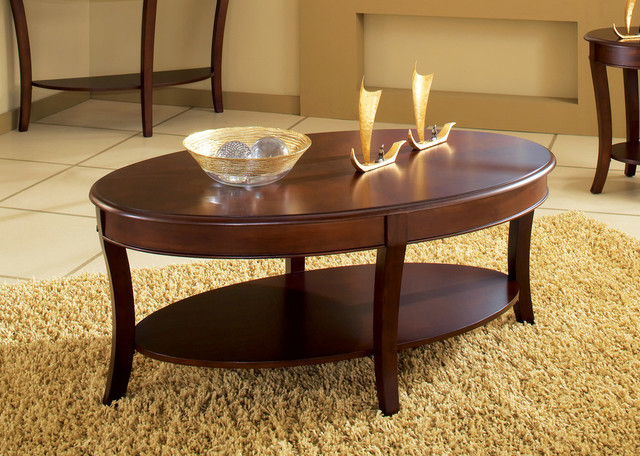 Troy Cocktail Table For Winslet Cherry Finish Wood Oval Coffee Tables With Casters (View 5 of 25)