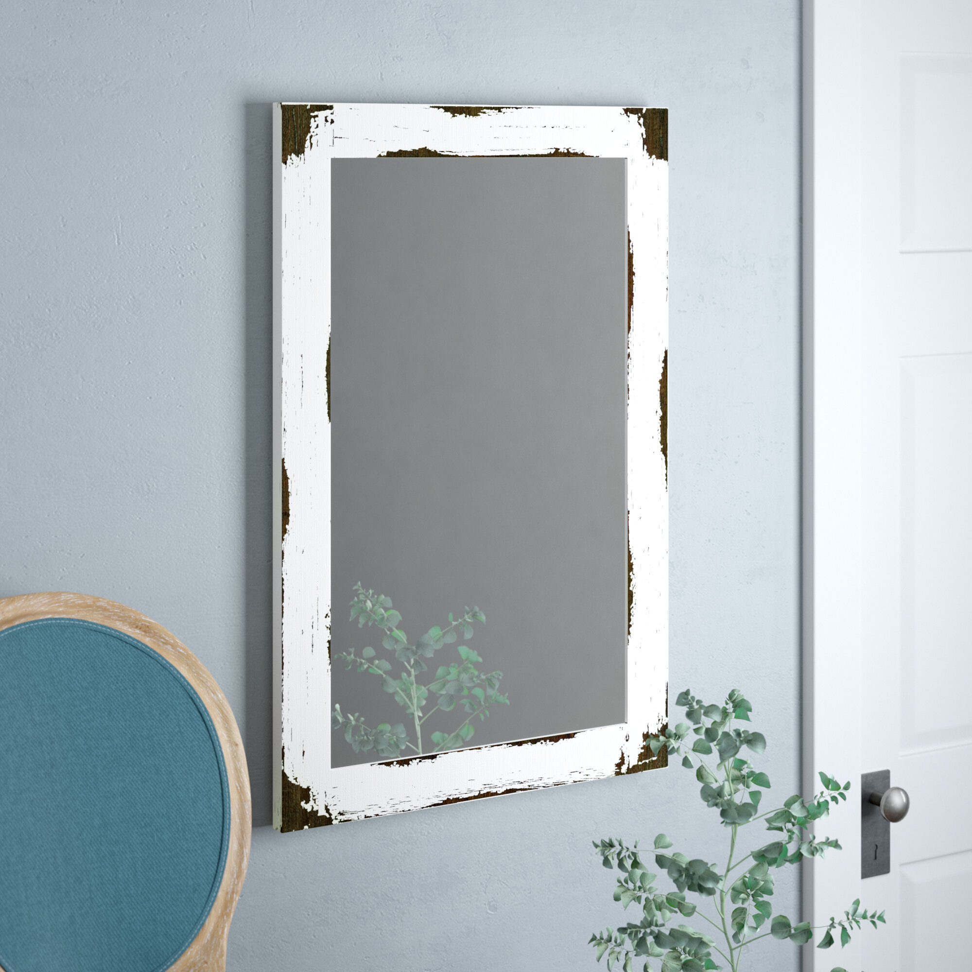 Tryphena Distressed Reclaimed Wall Mounted Mirror With Kist Farmhouse Wall Mirrors (View 17 of 20)