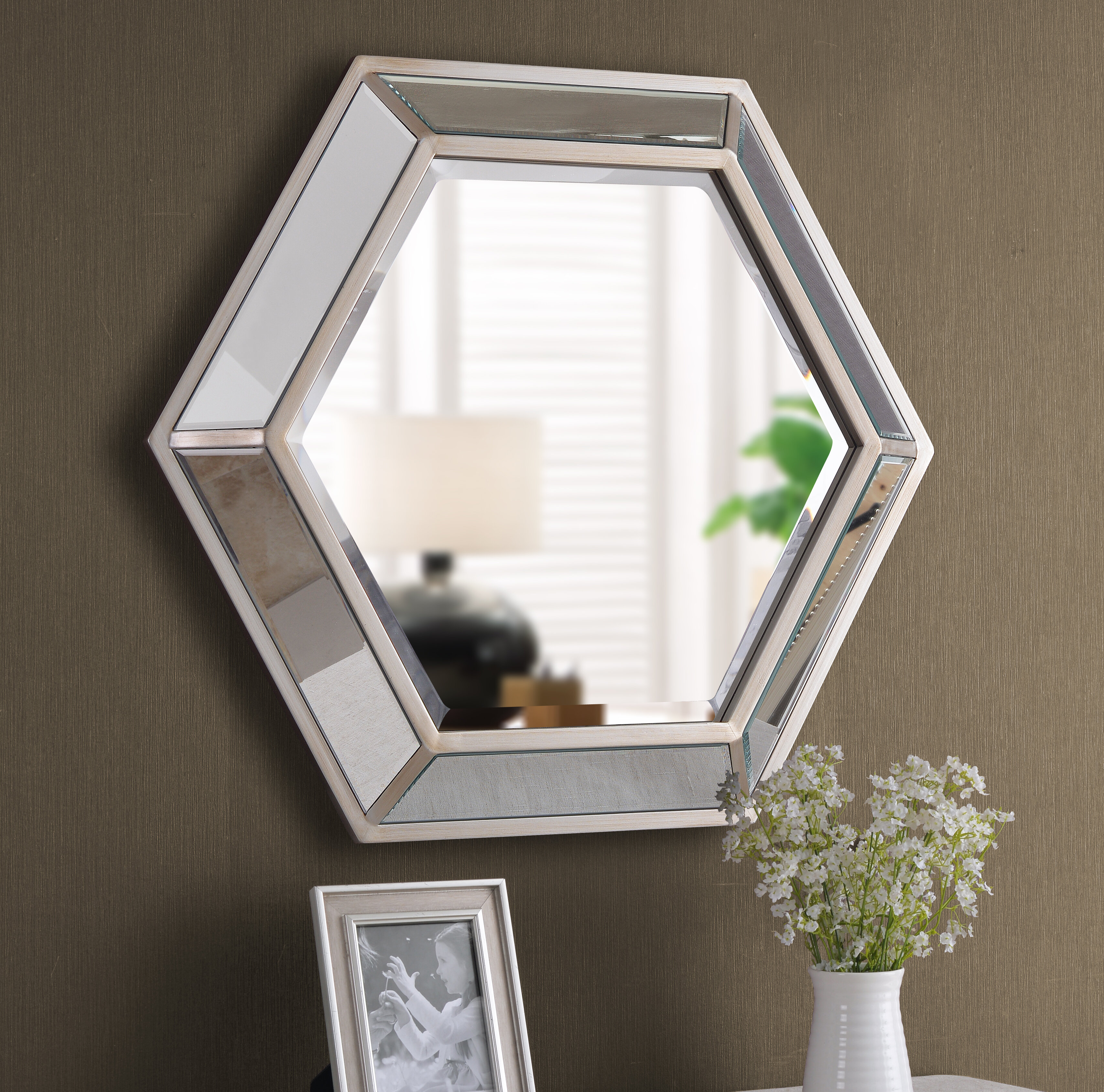 Tulare Hexagonal D Ring Wall Mounted Beveled Accent Mirror For Trigg Accent Mirrors (View 10 of 20)