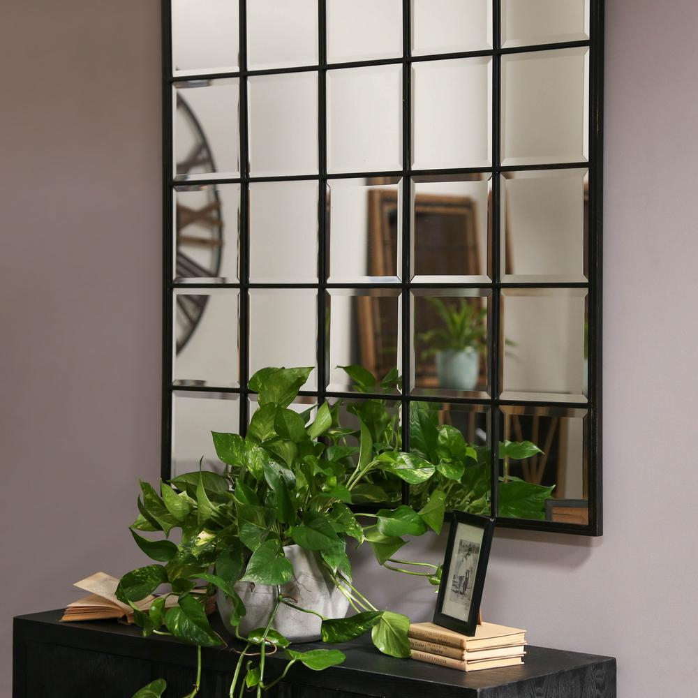 Urban Trends Collection Square Black Metallic Window Pane Within 2 Piece Priscilla Square Traditional Beveled Distressed Accent Mirror Sets (View 17 of 20)
