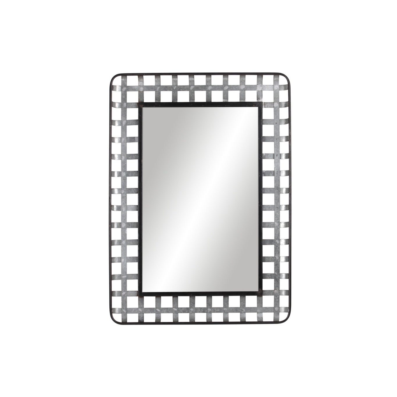 Utc31077: Metal Round Wall Mirror With Lattice Cross Design Frame Galvanized Finish Gray – Silver – N/a/n Intended For Round Galvanized Metallic Wall Mirrors (View 15 of 20)