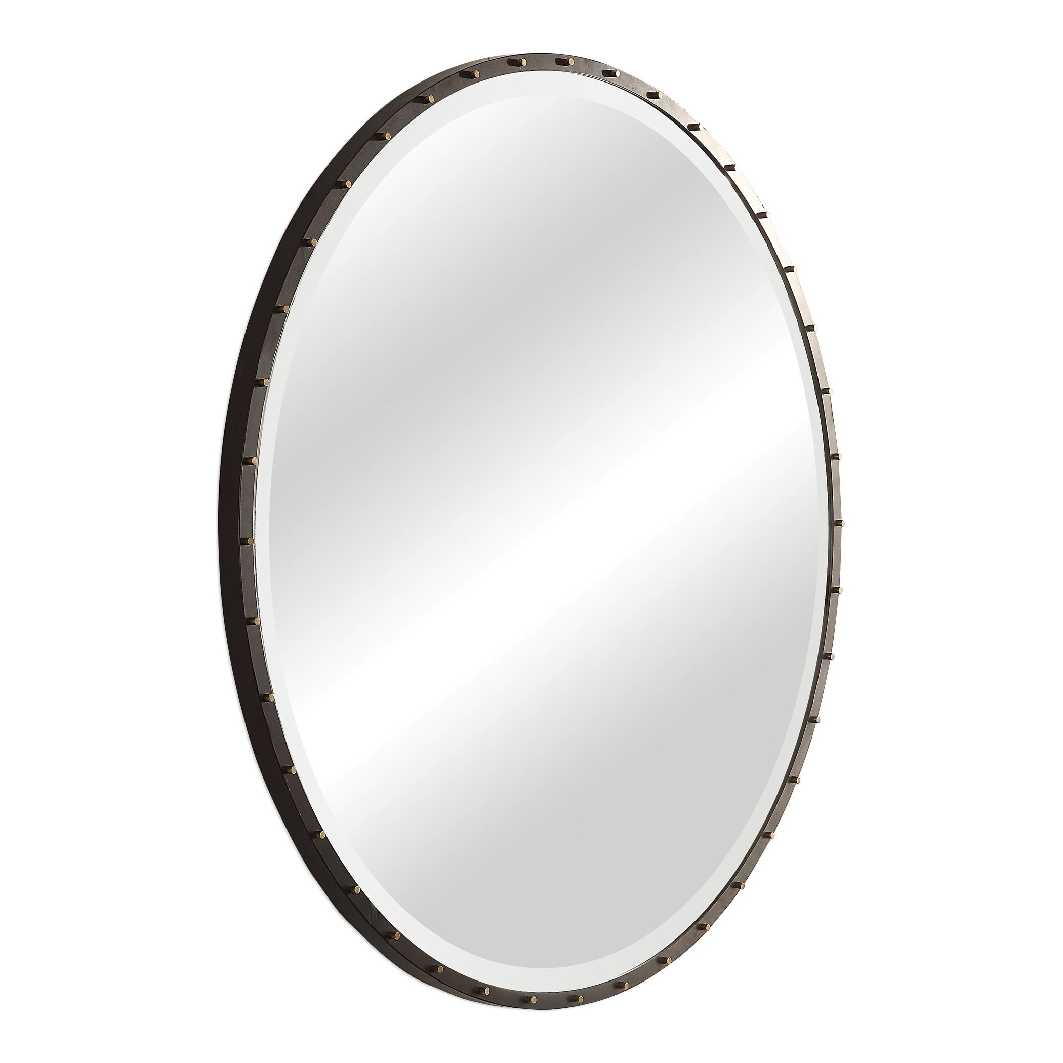 Uttermost Benedo Rustic Black Round Mirror – Antique Silver Pertaining To Mahanoy Modern And Contemporary Distressed Accent Mirrors (Image 19 of 20)
