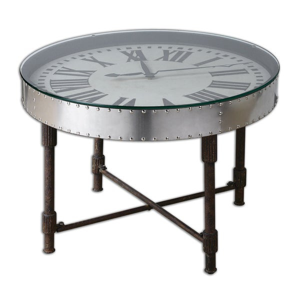 Uttermost Cassem Aluminum Clock Table Inside Carbon Loft Heimlich Pewter Steel/glass Round Coffee Tables (View 24 of 25)