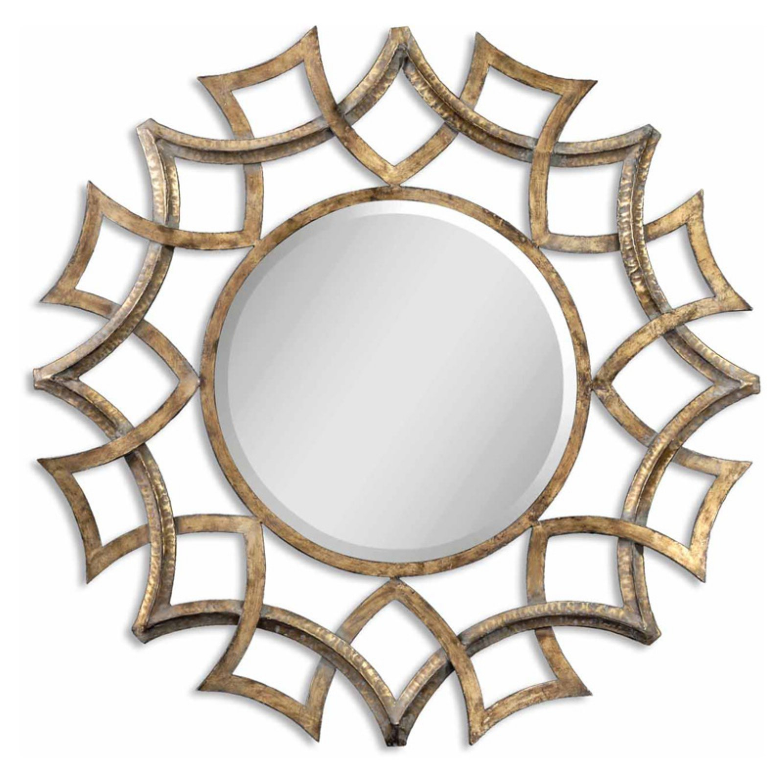 Uttermost Demarco Antiqued Gold Metal Decorative Wall Mirror Throughout Brylee Traditional Sunburst Mirrors (View 6 of 20)