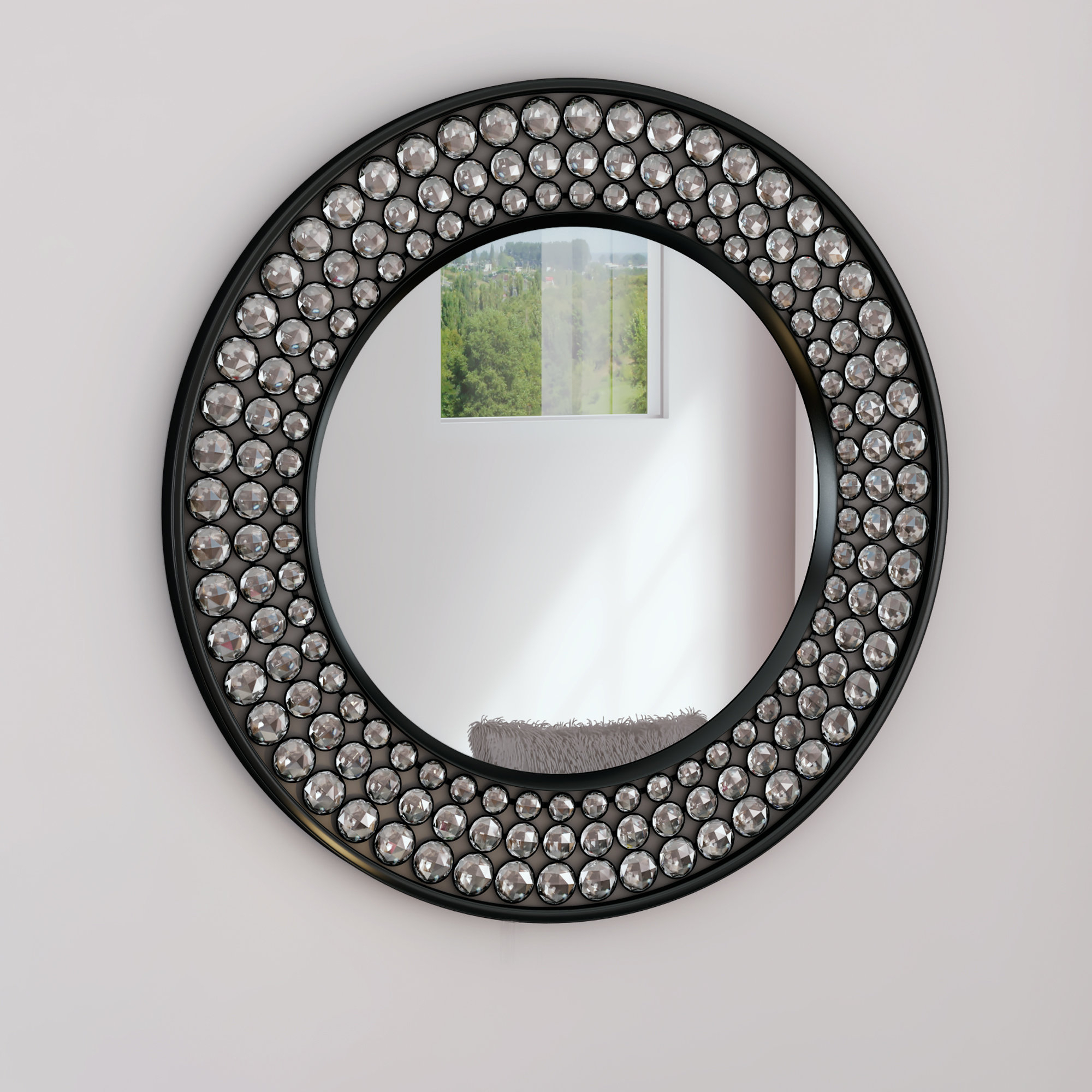 Valerian Jeweled Round Wall Mirror In Karn Vertical Round Resin Wall Mirrors (Image 15 of 20)