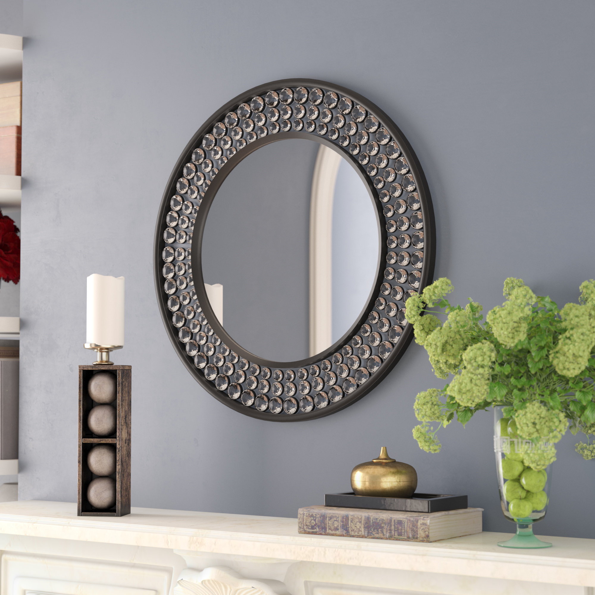 Valerian Jeweled Round Wall Mirror Throughout Point Reyes Molten Round Wall Mirrors (View 6 of 20)