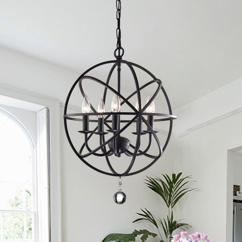 Verlene Foyer 5 Light Globe Chandelier With Waldron 5 Light Globe Chandeliers (Photo 11 of 20)
