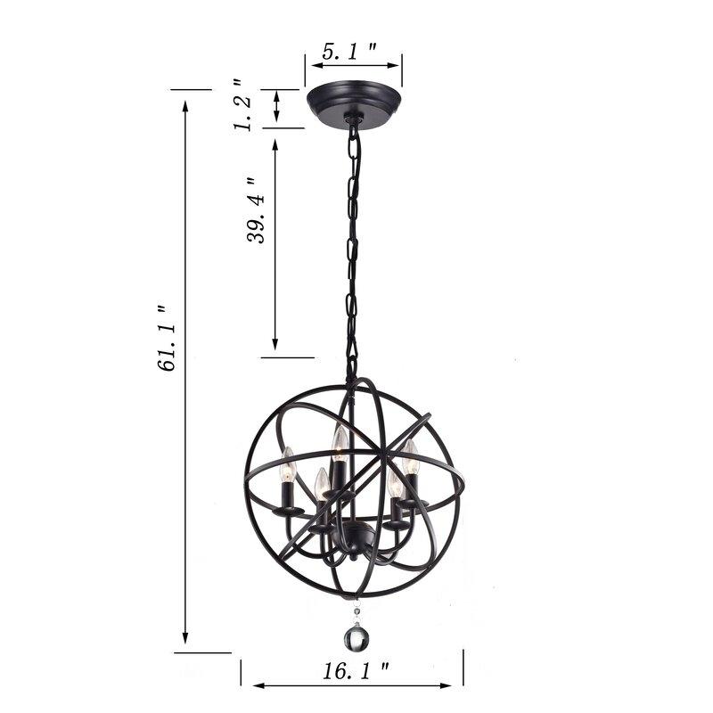 Verlene Foyer 5 Light Globe Chandelier Within Waldron 5 Light Globe Chandeliers (Image 13 of 20)