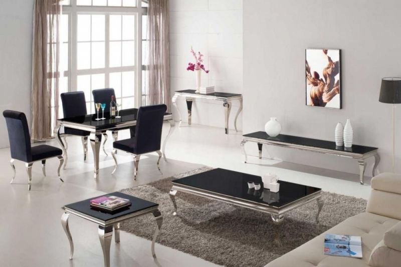 Vida Living Louis Coffee Table – Black Glass And Chrome Pertaining To Occasional Contemporary Black Coffee Tables (Photo 14 of 25)