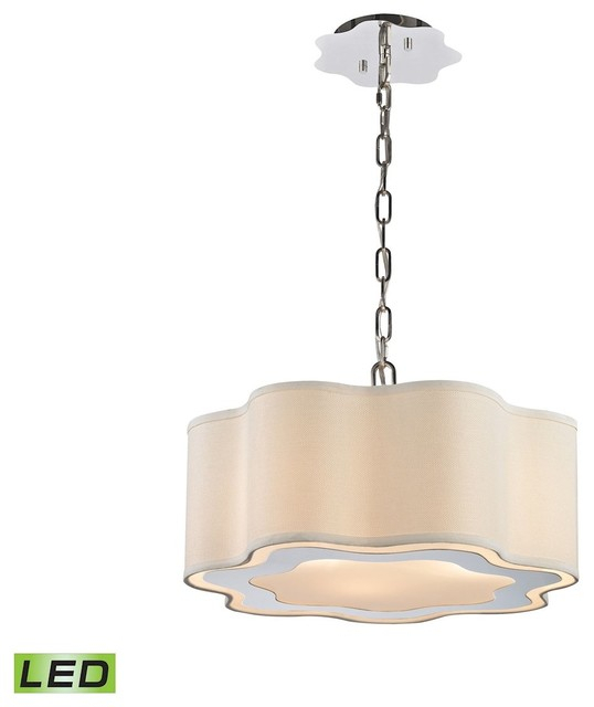 Villoy 3 Light Led Drum Pendant, Polished Stainless Steel And Nickel Regarding Armande 4 Light Lantern Drum Pendants (View 18 of 25)
