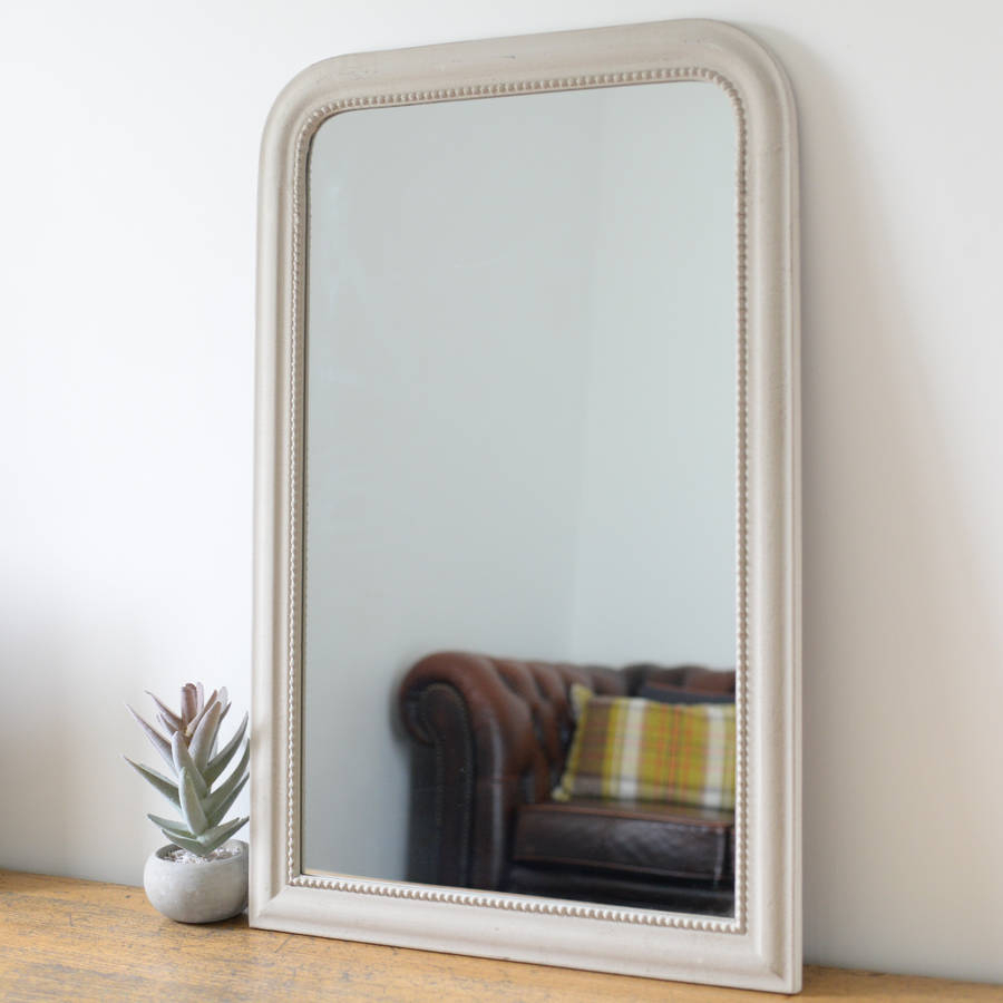 Vintage Edged Wall Mirror In Stone Throughout Gold Arch Wall Mirrors (View 16 of 20)