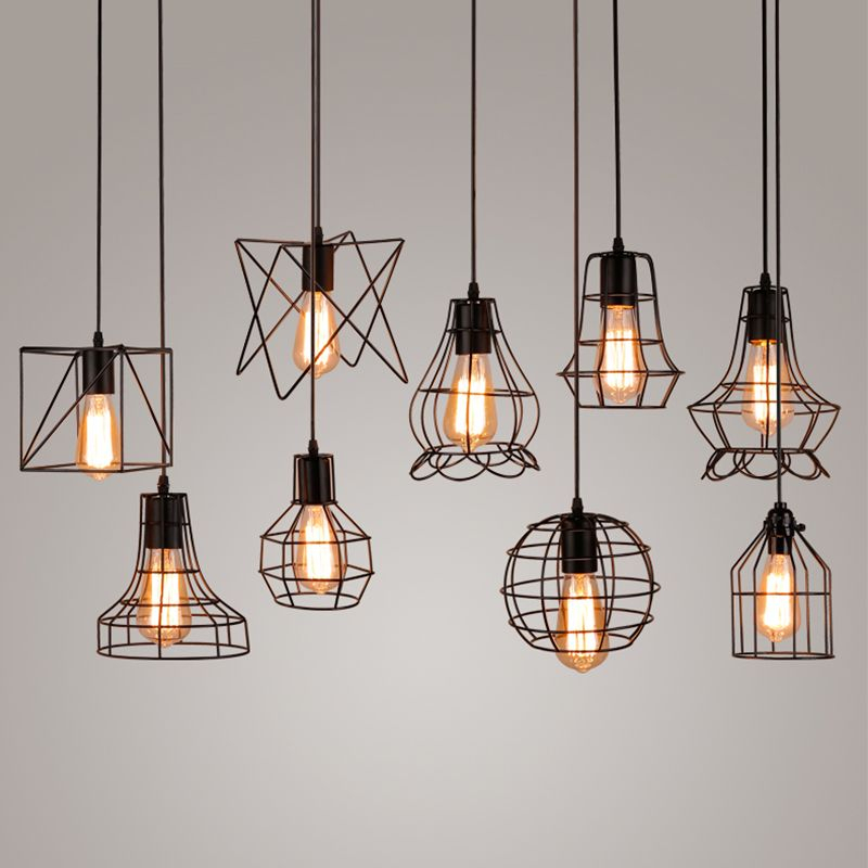 Vintage Industrial Metal Cage Pendant Light Hanging Lamp For Zachery 5 Light Led Cluster Pendants (Photo 14 of 25)