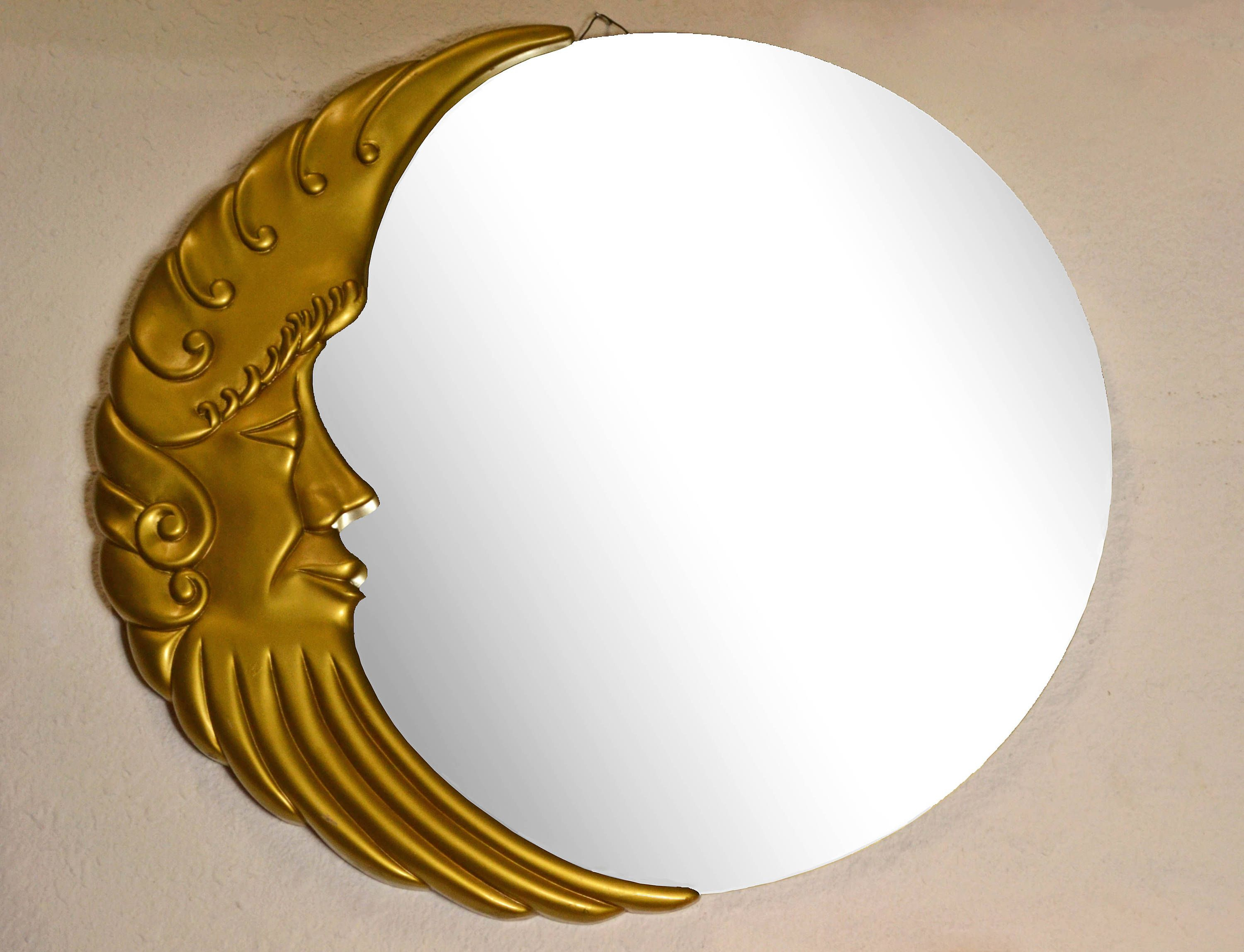 Vintage Modern Round Wall Mirror Gold Man In The Moon Throughout Luna Accent Mirrors (Image 18 of 20)