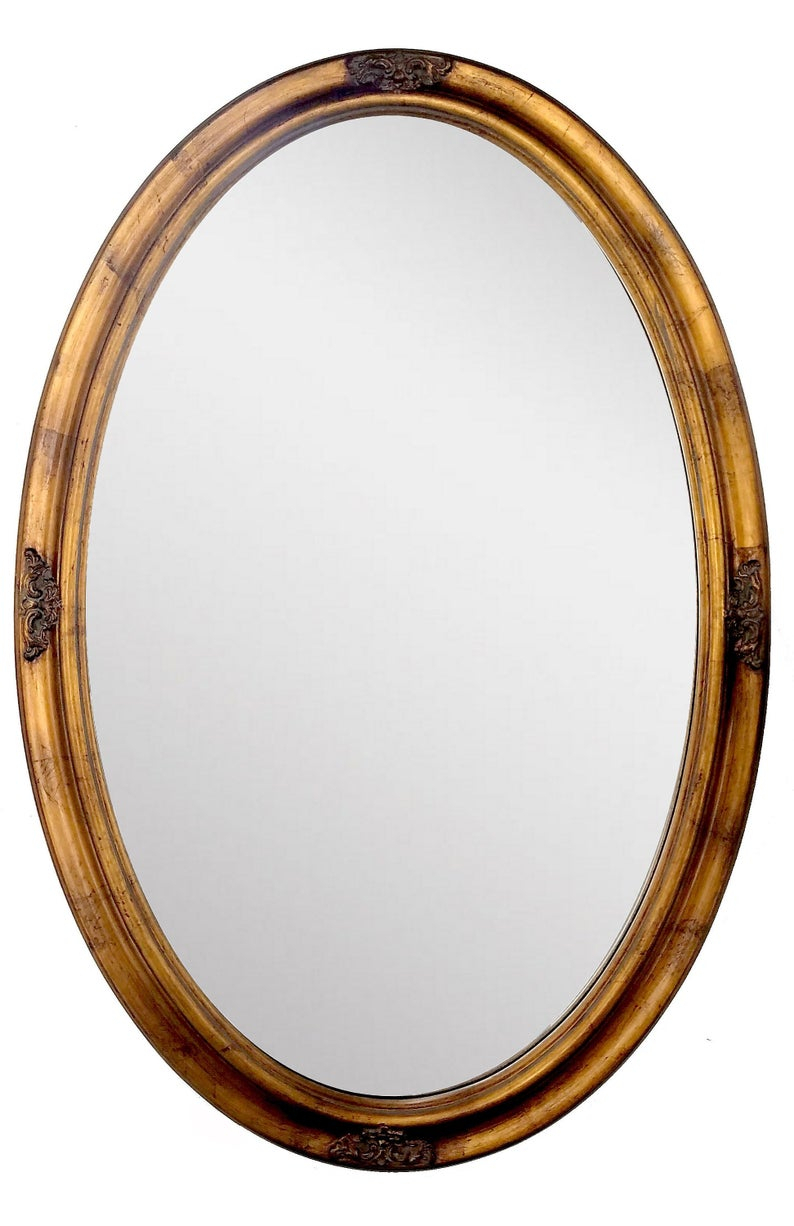 Vintage Oval Mirror, Antique Gold Leaf Accent Wall Hanging Mirror, 21 X  31 Inch Regarding Polen Traditional Wall Mirrors (View 13 of 20)