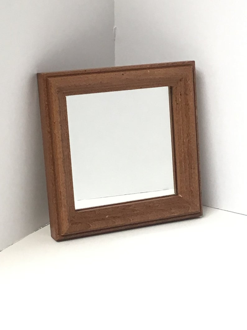 Vintage Small Square Wood Wall Mirror, Brown Wood Wall Accent Mirror, Midcentury Small Square Wood Mirror, Vintage Diamond Shape Wall Mirror With Regard To Caja Rectangle Glass Frame Wall Mirrors (View 20 of 20)