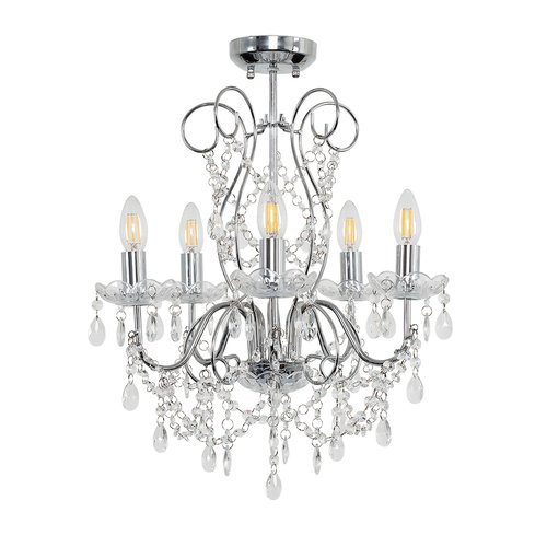 Viscount 5 Light Candle Style Chandelier Minisun Bulb: Not Inside Blanchette 5 Light Candle Style Chandeliers (Photo 7 of 20)