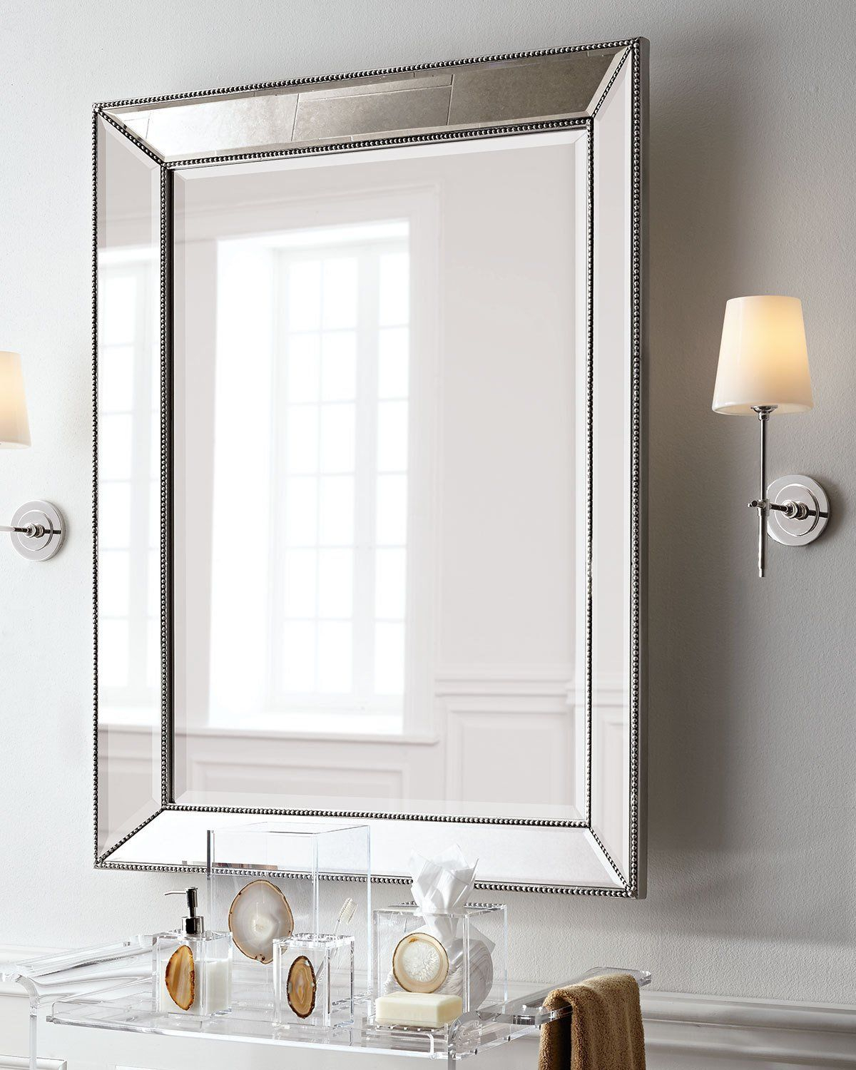 Visual Comfort Bryant Sconce With Polished Nickel Finish In Within Lake Park Beveled Beaded Accent Wall Mirrors (Photo 8 of 20)