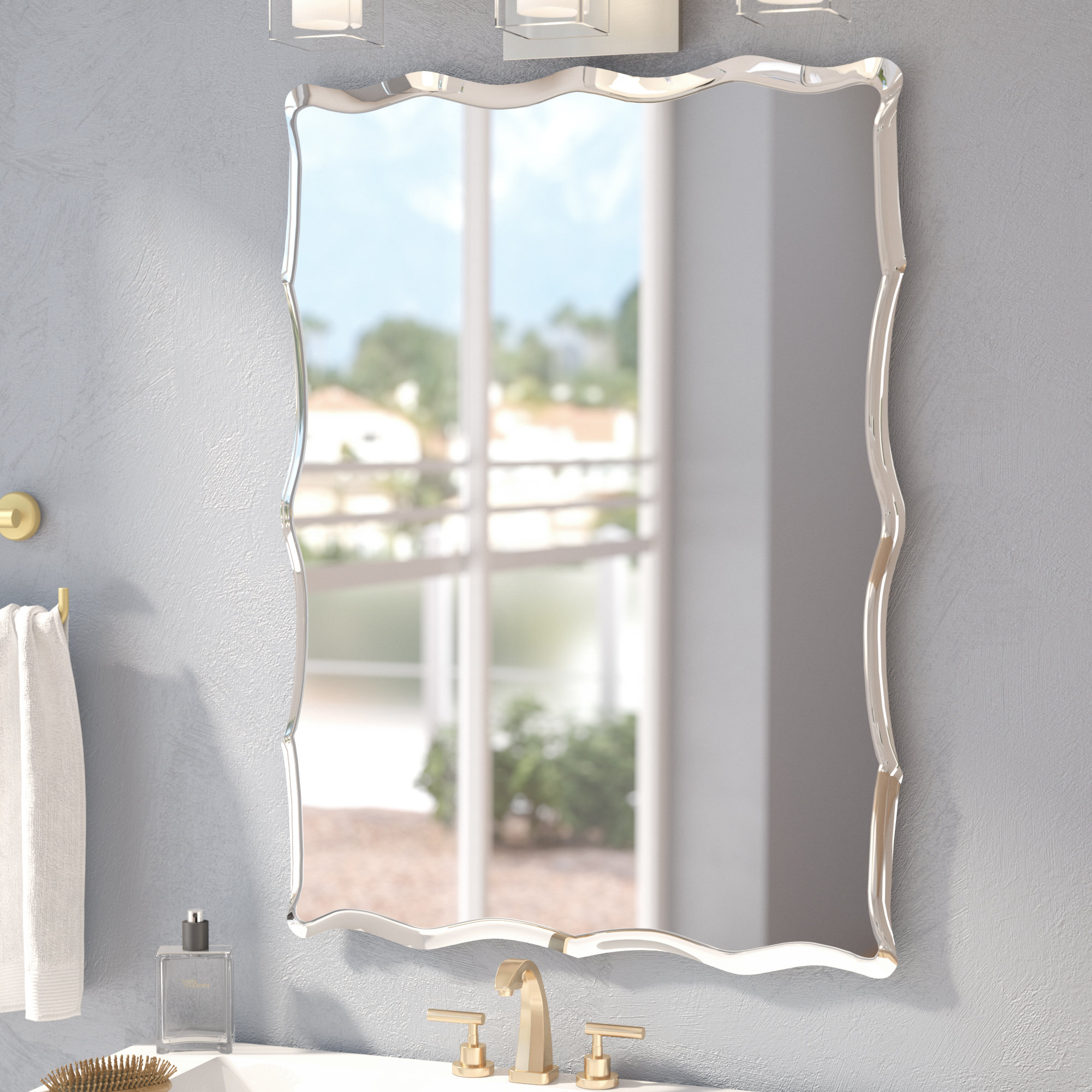 Wade Logan Estefania Frameless Wall Mirror & Reviews | Wayfair Inside Logan Frameless Wall Mirrors (View 4 of 20)