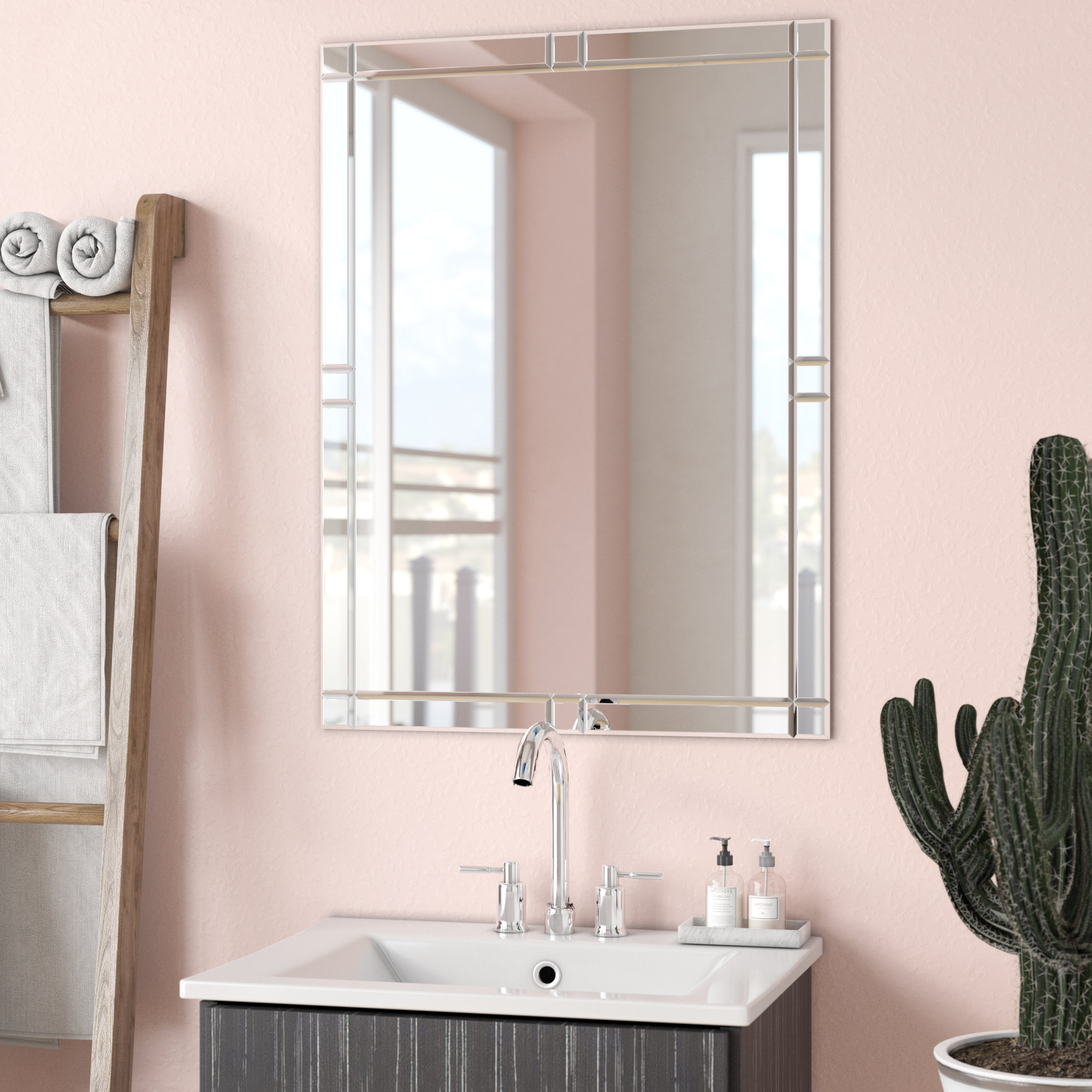 Wade Logan Frameless Wall Mirror & Reviews | Wayfair Pertaining To Logan Frameless Wall Mirrors (View 6 of 20)