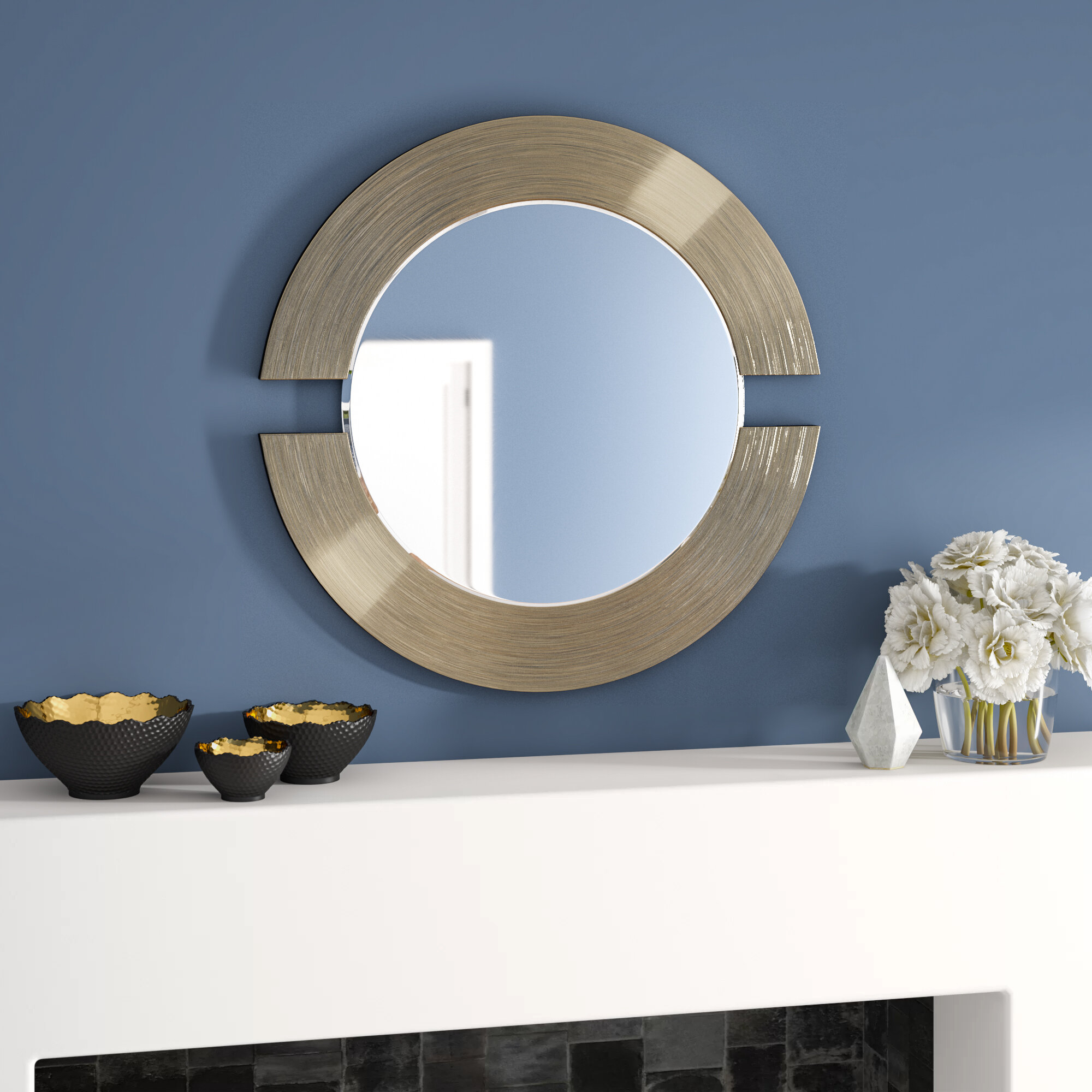 Wade Logan Matthew Round Accent Mirror & Reviews | Wayfair Throughout Ogier Accent Mirrors (Image 20 of 20)
