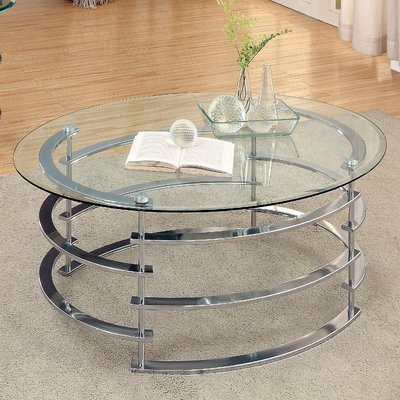 Wade Logan Morran Coffee Table Base Finish: Chrome | Products In Furniture Of America Tellarie Contemporary Chrome Coffee Tables (View 25 of 25)