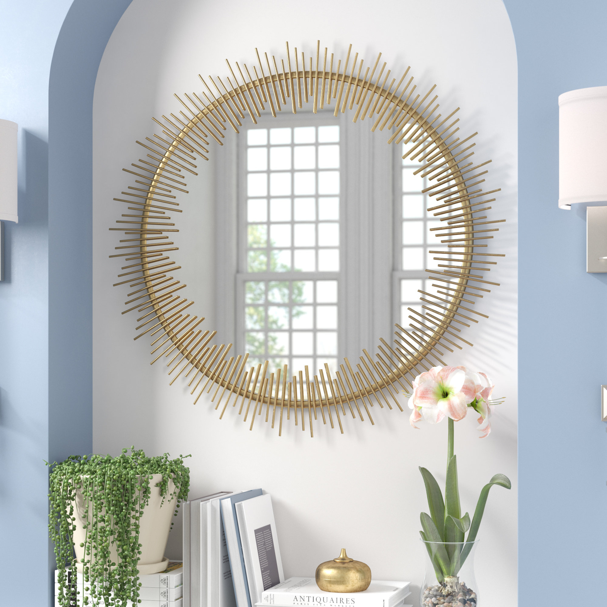 Wald Modern Wall Mirror Within Karn Vertical Round Resin Wall Mirrors (Image 17 of 20)