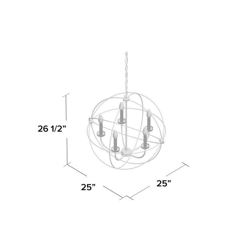 Waldron 5 Light Globe Chandelier For Waldron 5 Light Globe Chandeliers (Image 15 of 20)