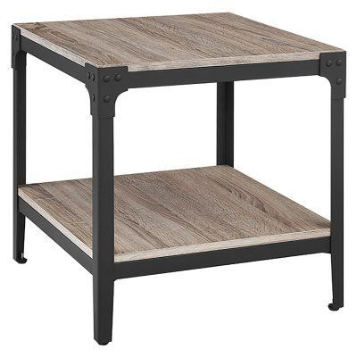 Walker Edison Angle Rustic End Table – Set Of 2 – Hn20Aistgw Throughout Carbon Loft Witten Angle Iron And Driftwood Coffee Tables (View 15 of 25)