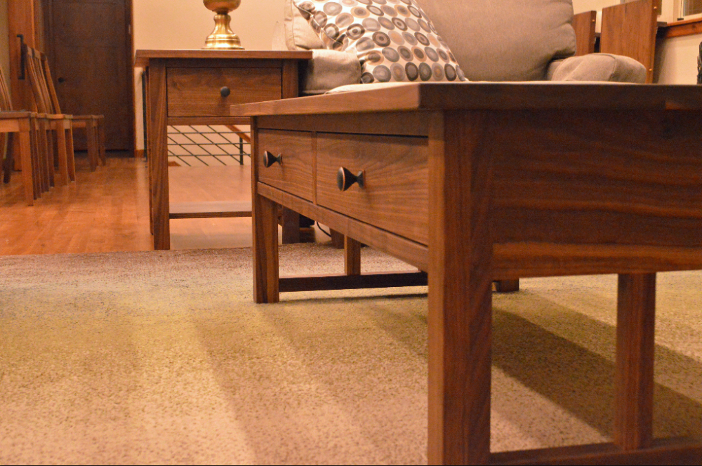 """Walnut """"mission"""" Coffee Table With Drawers 