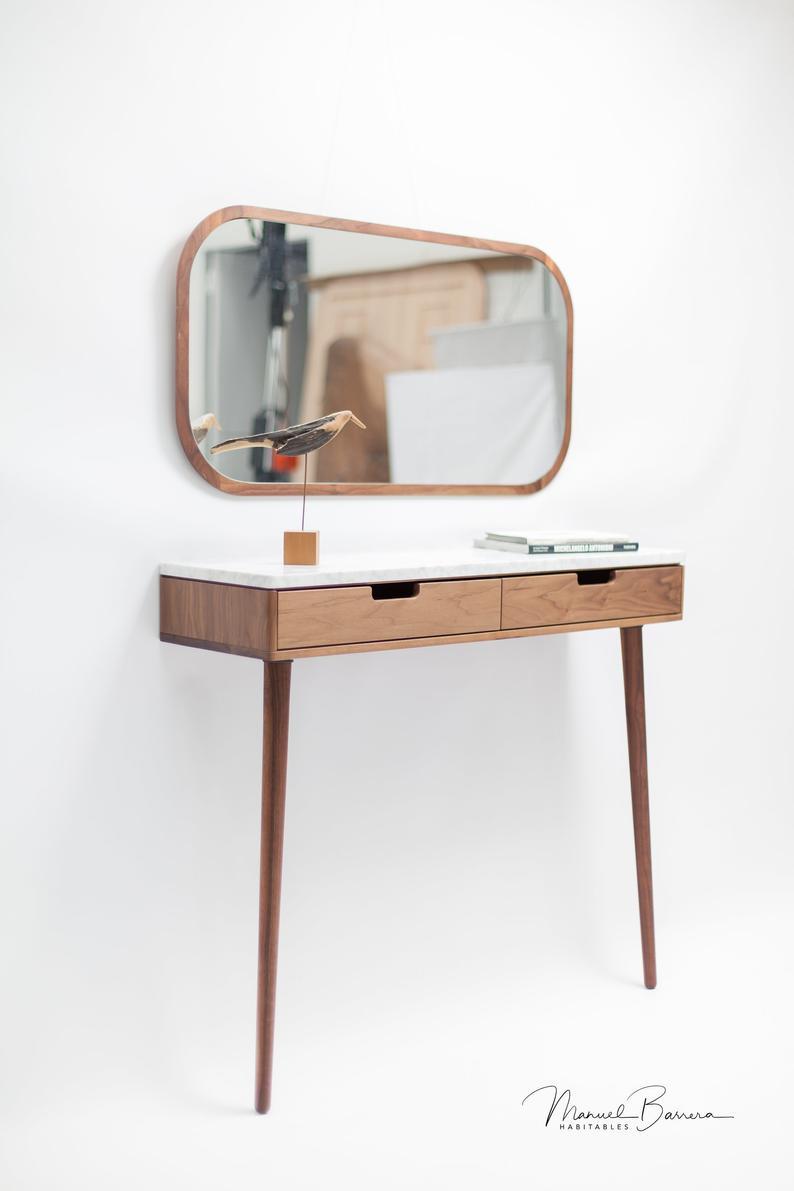 Walnut / Oak Wooden Mirror, Wall Mirror, Leaning Mirror, Vanity Mirror, Modern Mirror Inside Walnut Wood Wall Mirrors (View 11 of 20)