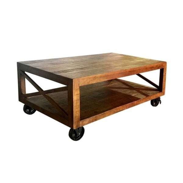 Wanderloot Barn Door Industrial Coffee Table, Brown – 50''l X 30''w X 20''h Pertaining To Dravens Industrial Cherry Coffee Tables (Image 25 of 25)