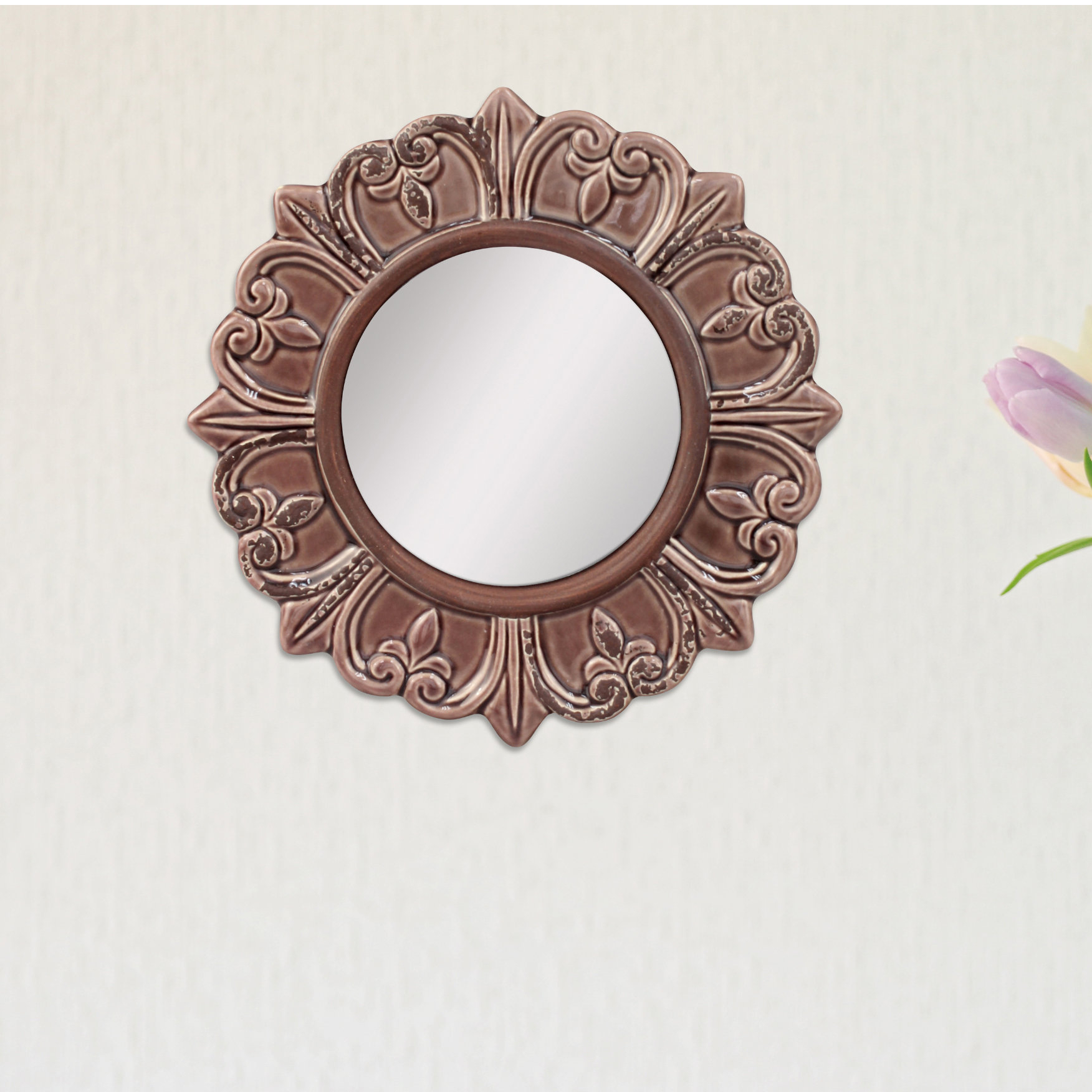 Waverly Place Round Distressed Wall Mirror Regarding Karn Vertical Round Resin Wall Mirrors (Image 19 of 20)