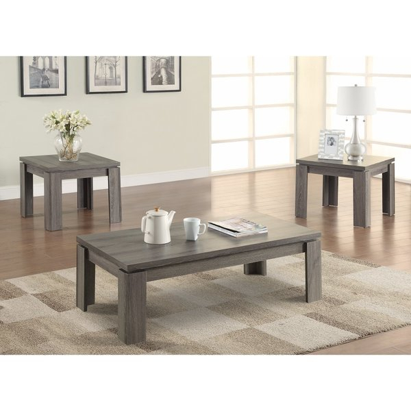 Weathered Oak Coffee Table Set | Wayfair Regarding The Gray Barn O'quinn Weathered Bark And White Castered Cocktail Tables (View 22 of 25)