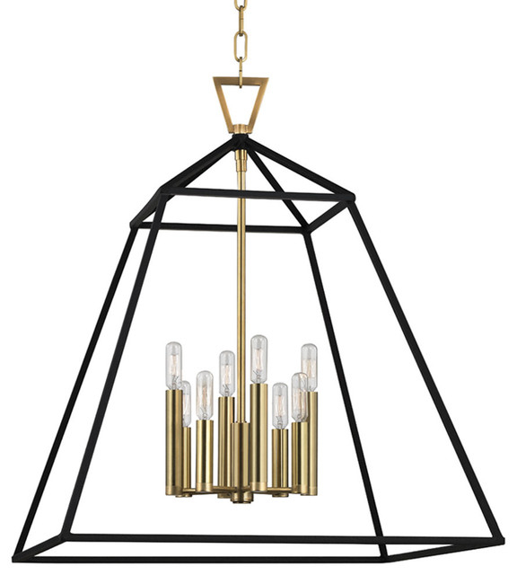 Webster 8 Light Pendant In Aged Brass With Rockland 4 Light Geometric Pendants (View 9 of 25)