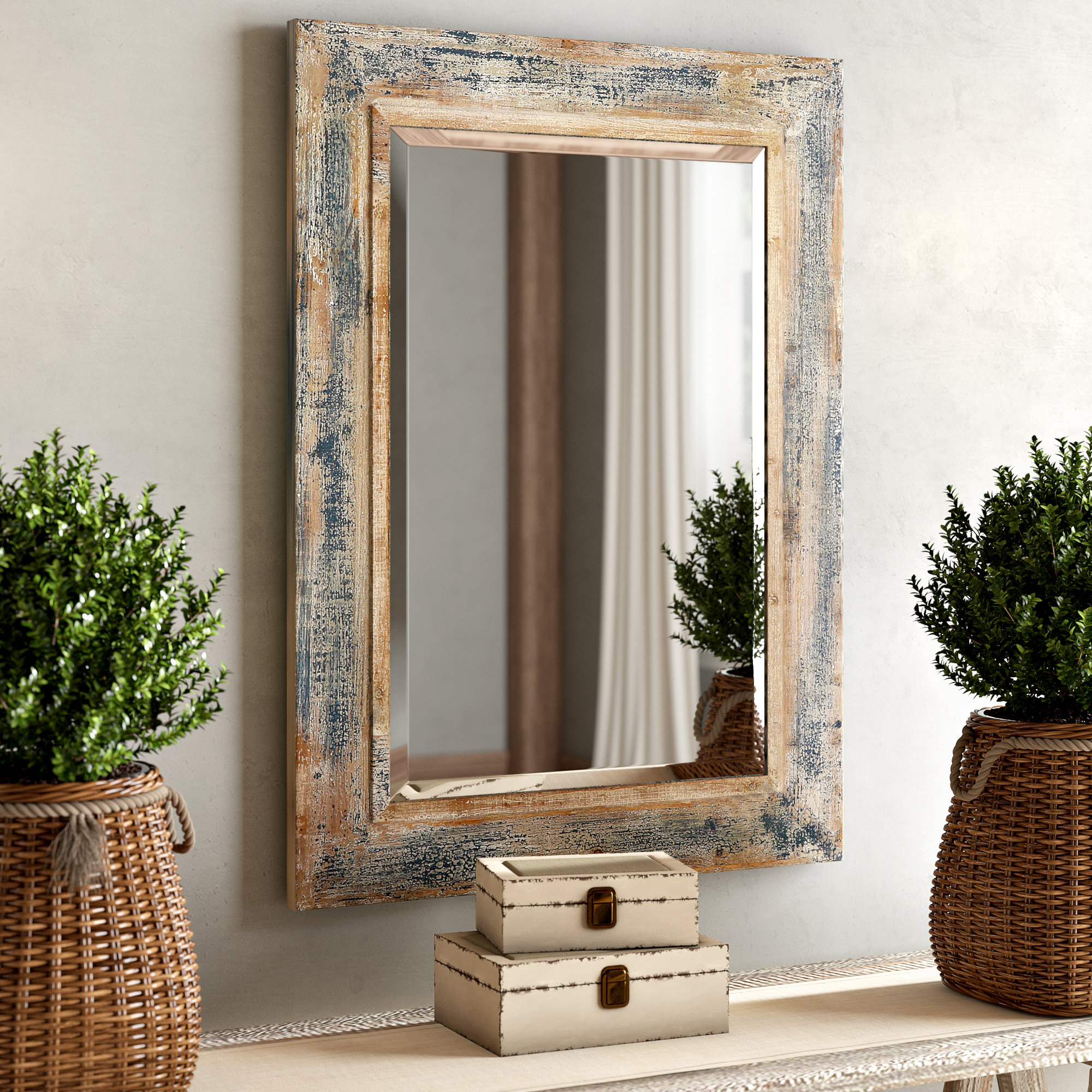 Wells Rectangular Mirror | Wayfair Regarding Lugo Rectangle Accent Mirrors (Image 18 of 20)