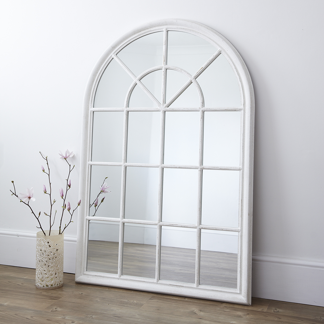 White Arched Window Wall Mirror Pertaining To Metal Arch Window Wall Mirrors (Image 20 of 20)