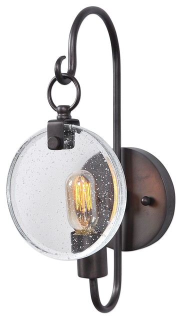 Whitten Industrial 1 Light Bronze Wall Sconce With Seeded Glass Inside Whitten 4 Light Crystal Chandeliers (View 12 of 20)