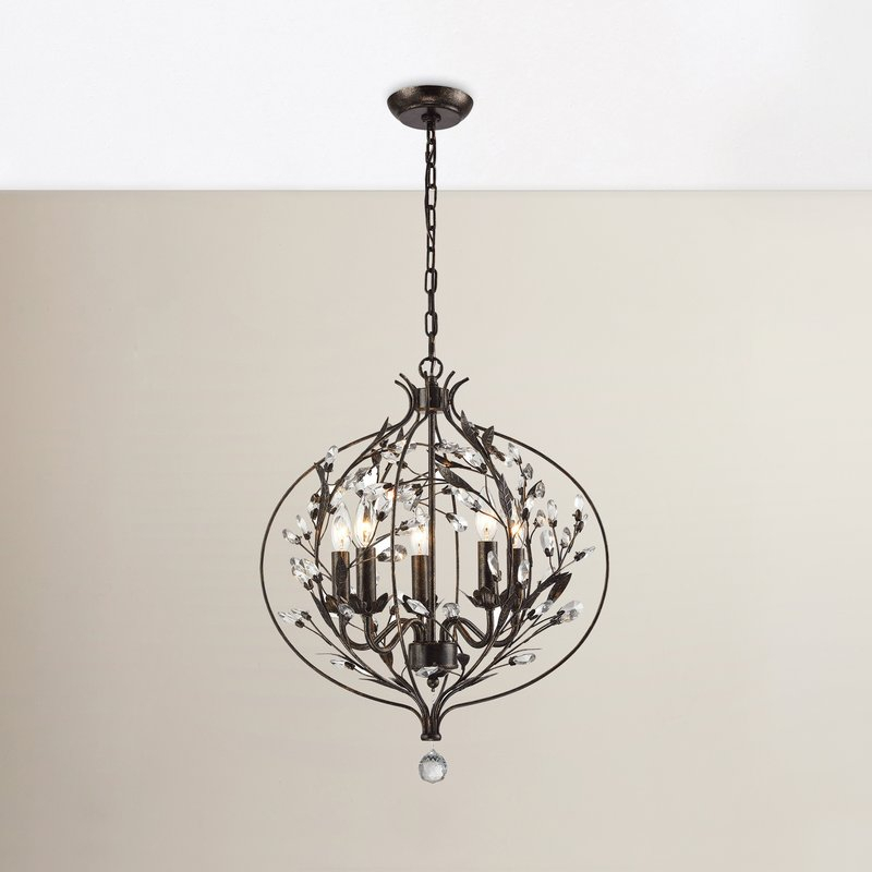 Whittingham 5 Light Globe Chandelier Within Gaines 5 Light Shaded Chandeliers (View 15 of 20)