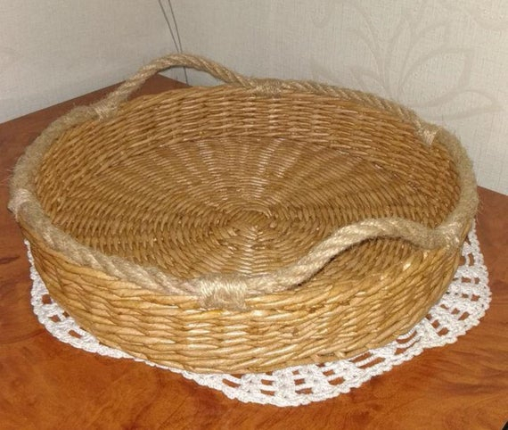 Wicker Round Tray Basket Tray Rustic Coffee Table Tray For Rustic Coffee Tables With Wicker Storage Baskets (Image 24 of 25)